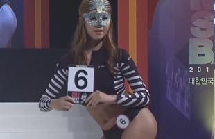 韩国美背小姐大赛 蒙面泳装神秘亮相舞台