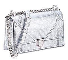 银色蜥蜴皮Diorama手袋