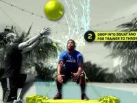 橄榄球身体训练课 抗阻力纵跳砸球训练增强爆发力