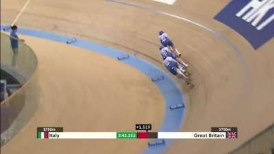 男子团体追逐赛 意大利逆转英国夺铜