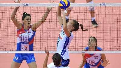 女排大奖赛-塞尔维亚3-1胜意大利 小组第一进四强
