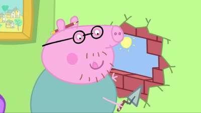 粉红猪小妹45 猪爸爸挂照片