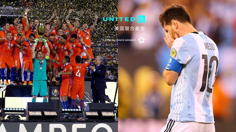 美洲杯-智利4-2阿根廷成功卫冕-梅西点球大战踢飞