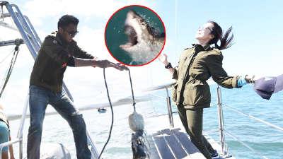 霆锋钓鲨鱼被湿身