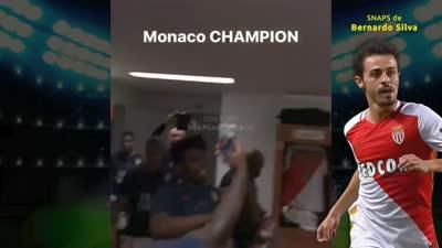 摩纳哥球员赛后更衣室欢庆 又蹦又跳还直播