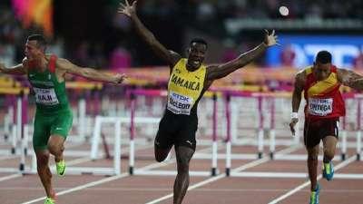 男子110米栏牙买加名将夺冠 舒本科夫获得银牌