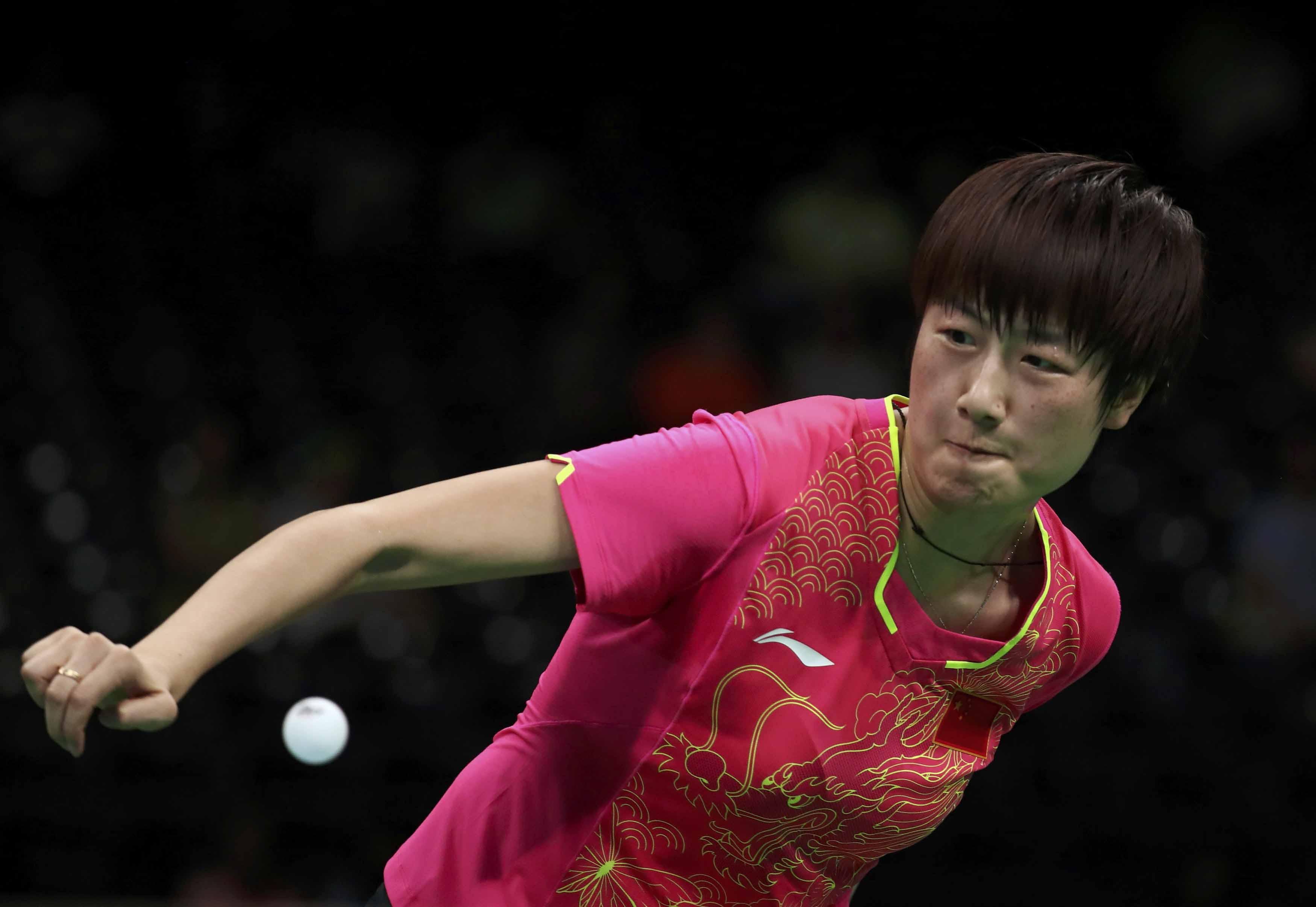乒乓球女单1/4v表情晋级无悬念丁宁表情的武术图片