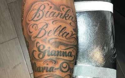 家人至上!科比新增纹身将小女儿名字刻上手臂