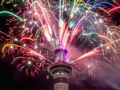 拍客直击新西兰跨年焰火