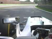 F1意大利站FP1 汉密尔顿4号弯冲进缓冲区