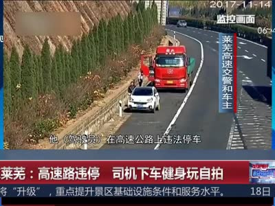 [视频]高速路违停 司机下车健身玩自拍