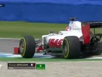吃土!F1德国站正赛:格罗斯让赛车冒烟冲到路边