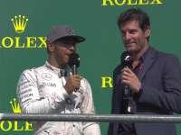 F1比利时站正赛 颁奖台采访老朋友韦伯现身