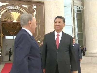 [视频]习近平出席哈萨克斯坦总统举行的欢迎仪式