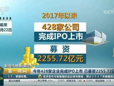 [视频]今年428家企业完成IPO上市 已募资2255.72亿元