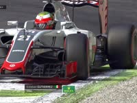 F1意大利站FP1 古铁雷兹转向过度 佩雷兹锁死