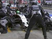 F1奥地利站正赛 霍肯伯格轮胎磨损进站
