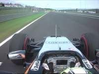 F1匈牙利站FP1 佩雷兹入弯险失控猛打方向盘
