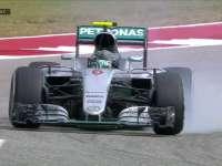 F1美国站正赛:罗斯伯格轮胎锁死