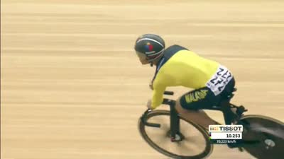 男子凯林赛 马来西亚选手抬前轮冲刺夺冠