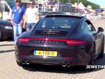 赛道实拍保时捷porsche 911 carrera 4s天蝎改装排气声浪