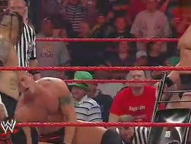 wwe约翰塞纳搭档兰迪奥顿完胜17位raw摔角手 完美的配合 高清图片