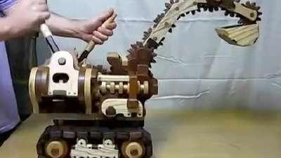 自制木头挖掘机