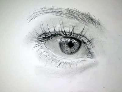 手绘3d立体眼睛延时摄影